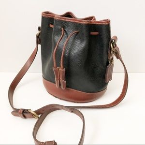 Coach two tone leather bucket bag